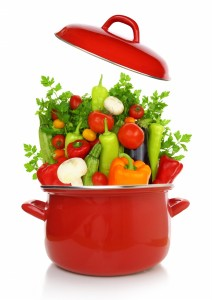 Fresh-vegetables-in-a-red-cooking-pot