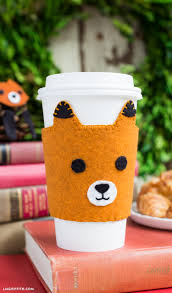 felt fox coffee sleeve